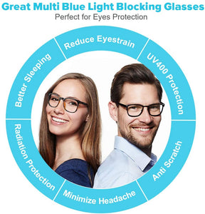(H612)Blue Light Blocking Glasses, 2 Pack Cut UV400 Transparent Lens Computer Reading Glasses for Anti Eyestrain, Lightweight Eyeglasses Frame, Sleep Better