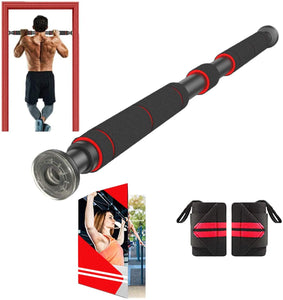 (Q831)AmazeFan Pull Up Bar for Doorway | Chin-Up Bar with Extended Hand Grips - 2 Professional Quality Wrist Straps, Trainer for Home Gym Exercise,26 to 39 Inches Adjustable Length