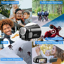 Load image into Gallery viewer, (J162)ORDRO 4K Camcorder Video Camera Mini DV Camera Recorder IR Night Vision Camera Full HD 1080P 60FPS 3.0 Inch IPS Touch Screen YouTube ...