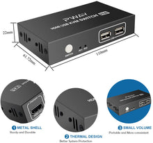 Load image into Gallery viewer, (C813) Switch HDMI 2 Port Box,UHD 4K@30Hz & 3D & 1080P Supported
