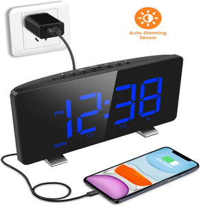 (R806)Digital Alarm Clock, ELEGIANT Alarm Clocks for Bedrooms with FM Radio, Dual Alarms, 7.3'' LED Screen, USB Port for Charging, 4 Brightness, 12/24H, Automatic Dimmer