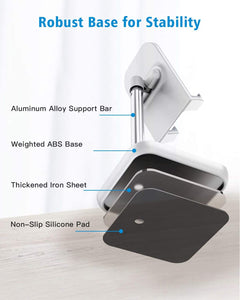 (E303) Cell Phone Stand, Height Angle Adjustable Phone Stand,Deep Dream Desktop Sturdy Aluminum Metal Phone Holder,Compatible