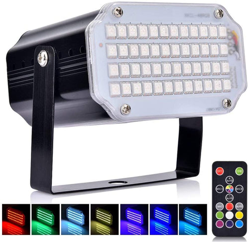 (A962)BASEIN Christmas Stage Lights with Remote Control Adjustable Speed 7 Modes Party Lights with Super Bright 48 LED Strobe Light Lamps