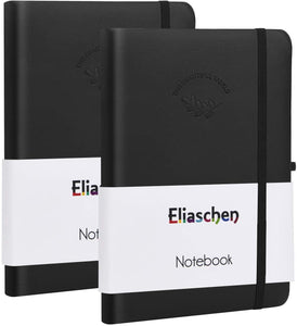 (H350)Eliaschen 2 Pack College Ruled Notebook Softcover Journals, Classic Journal Premium Thick Paper, Total 440 Numbered Pages, Faux Leather