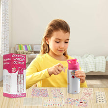 Load image into Gallery viewer, (F021)Decorate Your Own Water Bottle for Girls with Tons of Rhinestone Glitter Gem Stickers! Reusable BPA Free, Kids Water Bottle Craft Kit,Fun DIY Art and Craft Kit