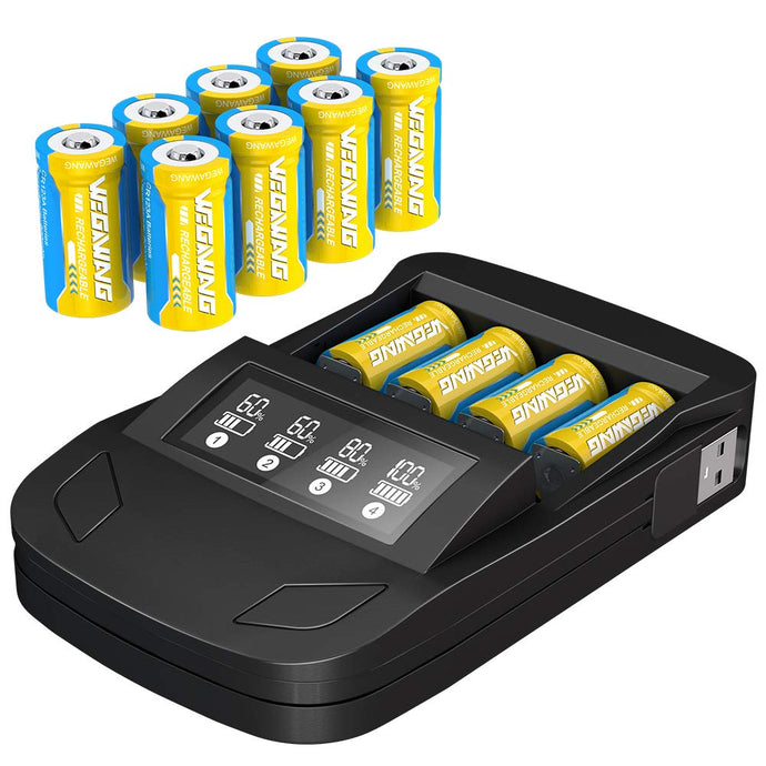 (C038)123A Batteries for Arlo Rechargeable, 8 Packs 3.7V 800mAh Battery and CR123A Charger