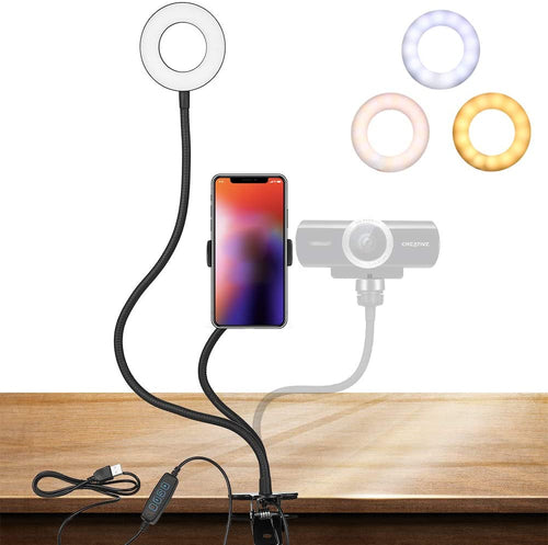 (X037)Webcam Light Stand for Live Stream, Selfie Ring Light with Webcam Mount for Logitech C925e, C922x, C930e,C922,C930,C920,C615,Brio 4K(1/4