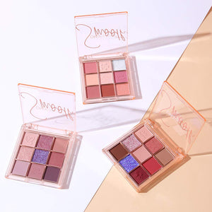 (Y950)Pink Eyeshadow Palette High Pigmented Makeup Palette Easy to Blend Color Fusion 9 Shades Metallic and Shimmers Long Lasting Sweatproof and Waterproof Bright Eyeshadow Palette