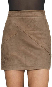 (Y534)Simplee Apparel Women's High Waist Faux Suede Mini Short Bodycon Skirt