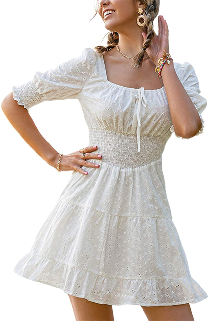 (M551) Lovinchic Women's Casual White Mini Dress Puff Sleeve Ruffle Tiered Short Dress
