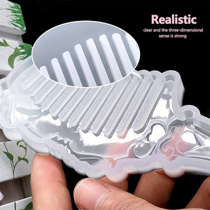 (T807)Heflashor Comb Resin Mold Silicone Molds DIY Hand Craft Epoxy Resin Silicone Mould Crystal Jewelry Silicone Mold Handmade Tool for DIY Crafts
