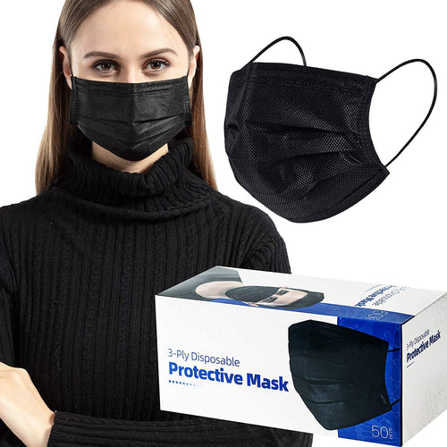 (Y907)Individually Packaged 50 Pcs Face Masks Black Breathable Dust Mask Stretchable Elastic Ear Loops - Black Face Mask