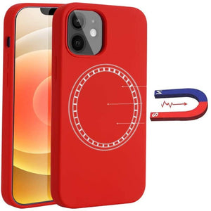 (C046)Full Protective Liquid Silicone Case Compatible with iPhone 12 Built in Magnets Shockproof Cover Designed for iPhone 12 Pro (6.1 inch) (Red)