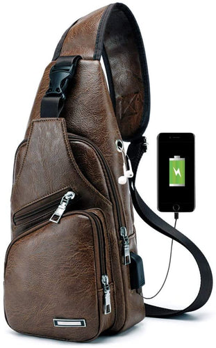 (X370)PHABULS Faux Leather Sling Bag For Men Backpack Chest Bag for Men with USB Charging Port for Travel, Hiking,Cycling(Dark Brown)