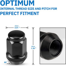 "Load image into Gallery viewer, (K286)SIZZER M12x1.5 Lug Nuts 1.38"" Long 3/4"" Hex Bulge Acorn Aftermarket 12mmx1.5 Wheel Lug Nut Black Finish, Set of 20"
