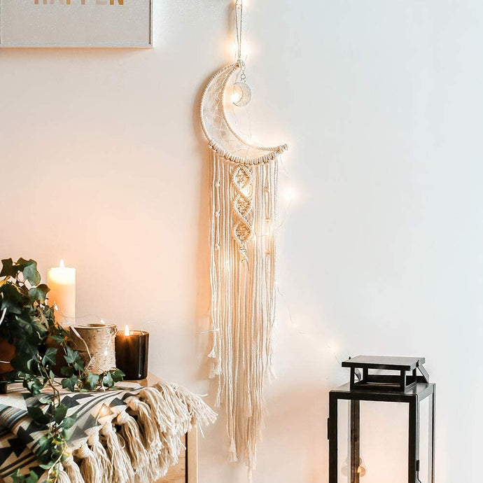(R012)Moon Dream Catcher with LED Lights, Macrame Wall Hanging Art Woven Boho Home Decor for Kids Room Home Wedding Ornament Craft Gift