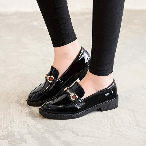 (H320)CHICOLIN Black Loafers for Women Casual Leather Penny Loafer Shoes Womens
