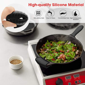 (V990)AHIW Silicone Hot Handle Holder Cover Set Assist Pan Handle Sleeve Pot Holders Cast Iron Skillets Handles Grip Covers Non-Slip Heat Resistant