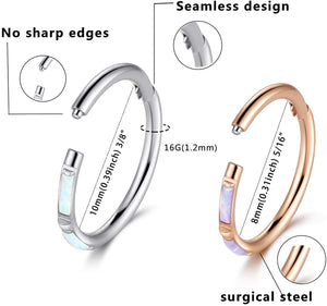 (W795)CICIMOTO Cartilage Earring Hoop, 16G Opal Nose Rings Hoop Surgical Steel Hinge Segment Ring Daith Earrings Tragus Helix Conch Piercing Jewelry