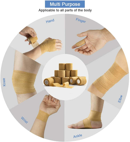 (E863)Self Adherent Cohesive Wrap Bandages (16-Pack) Bundle - 2inch-Wide 5yds Self Adhesive Non Woven Bandage Rolls -Brown Athletic Tape
