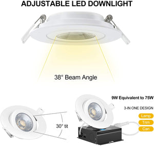 (G236)4 Inch Led Recessed Lights,KnLnny Recessed Lighting 9W 650LM Ultra-Thin Dimmable LED Recessed Ceiling Light