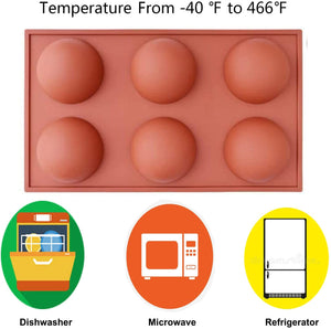(S971)Semi Sphere Silicone Mold-3Packs,Baking Mold for Making Hot Chocolate Bombs,Cocoa Bombs,Cupcake,Baking Mold