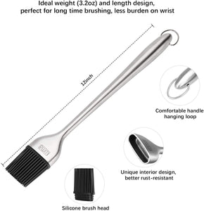 (V597)Rwm BBQ Grill Tool Set - Heavy Duty Extra Thick Stainless Steel Grill Utensil Set, Spatula, Basting Brush
