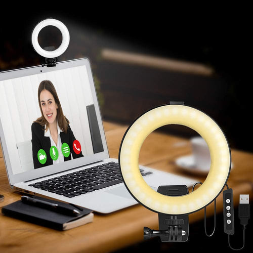 (M169)Video Conference Lighting Kit, LED Dimmable Ring Light Adjustable Clip On Monitor for Remote Working, Learning, Gaming
