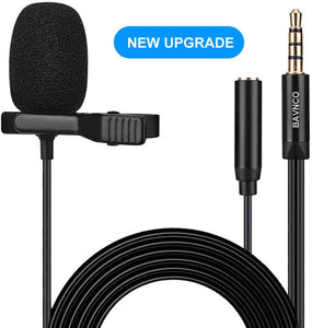 (T710)Lavalier Microphone, BAVNCO 3.5mm Plug Professional Lapel Microphone Omnidirectional Mic with Clip 3.5mm Jack for Podcast Recording Interview Youtube Voice Dictation Vlogging