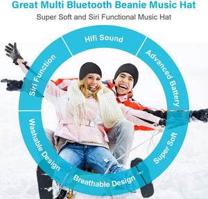 (T915)Bluetooth Beanie Gift for Men and Women, Upgraded Bluetooth 5.0 Music Hat, Wireless Headphone Built-in HD Stereo Speakers with Rechargeable USB