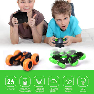 (V522)Vazillio Remote Control Stunt Car, 2.4 GHz RC Stunt Car Toy, Stand 360° Rotate Hot Speed Racing Car with Rechargeable Battery
