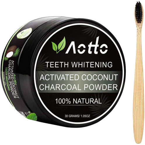 (Q789)Aotto Activated Charcoal Natural Teeth Whitener Teeth Whitening Charcoal Powder No Hurt on Enamel with Bamboo Brush