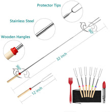 Load image into Gallery viewer, (A813)FYAIANG Marshmallow Roasting Smores Sticks & Hot Dog Forks,Telescoping Smores Skewers 32 Inch, Set of 6