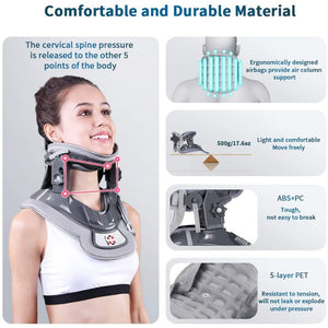 (K110)Cervical Neck Traction Device with 3 Power Traction + Airbag Support