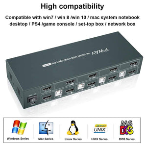 (C816)HDMI KVM Switch Dual Monitor Extended Display 4 Port, 2 USB 2.0 Hub, UHD 4K@30Hz YUV4:4:4 Downward Compatible, Hotkey Switch, with All Needed Cables
