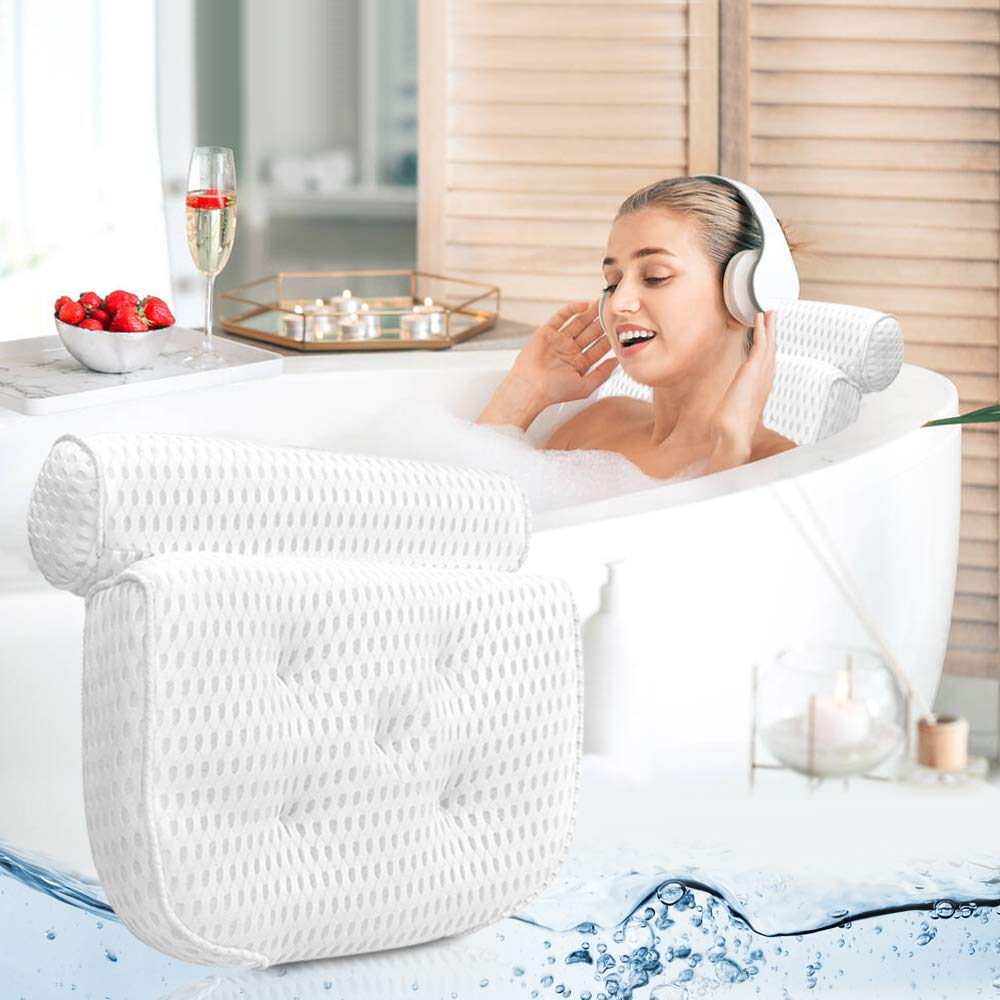(Y193)Bath Pillow Bathtub Pillow - Bath Pillows for Tub with Neck, Head, Shoulder and Back Support - 4D Air Mesh Spa Pillow for Bath - Extra Thick, Soft and Quick Dry