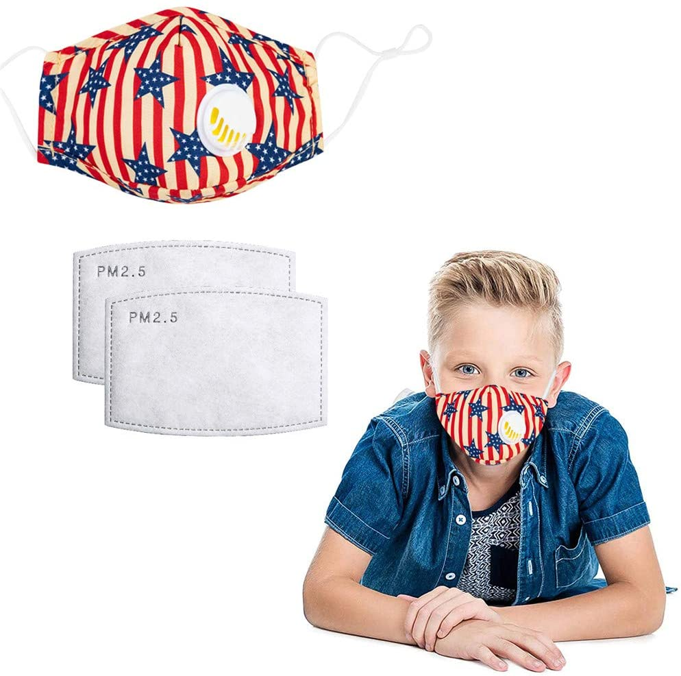 (Y752)Kids Breathing Protection Respirators with Breathing Valve with Activated Carbon Filter, Against Harmful Air Particle Suitable for Boys Girls Kids (1 Pack+2 Filters)