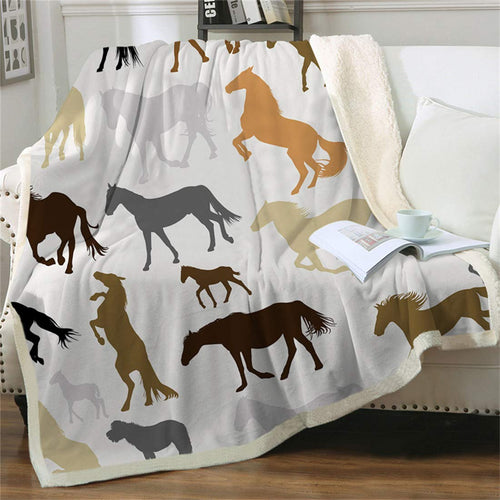(S141)chifave Throw Blanket for Kids Horse Animals Cavalry Blanket Warm Plush Sherpa Cowgirl Cowboy Western Fleece Couch Sofa Bed and Office Pretty Ponies