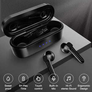 (H590) AVE Bluetooth 5.0 Wireless Earbuds with Wireless Charging Case 7H Continuous Playtime Waterproof TWS Stereo Headphones with Deep Bass for Sport