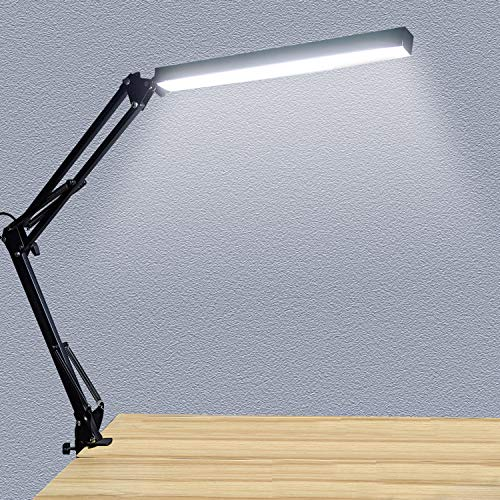 (Y465)LED Desk Lamp, Metal Swing Arm Lamp with Clamp, Dimmable Architect Task Lamp, 3 Color Modes & 10 Adjustable Brightness Levels& Memory Function, ...
