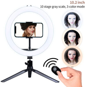 "(T331)10"" LED Ring light with Stand and Phone Holder, Dimmable Desk Selfie Ring Light with Tripod Stand for Makeup/Camera/Live Streaming/YouTube/Vlog/Tik Tok"