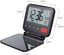 Load image into Gallery viewer, (H330)NOKLEAD Digital Travel Alarm Clock – Mini Portable LCD Display Clock with Backlight Calendar Temperature Snooze 12/24H Makeup Mirror, Small Folding Battery Operated Desk Clock