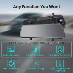 "(T203)VTIN 10"" FHD Mirror Dash Cam with Full Touch Screen, Dual 1080P Water Resistant Backup Camera Car Rear View Mirror Reversing Camera, Enhanced Night Vision/Parking Monitor/Loop Recording/Emergency Lock"