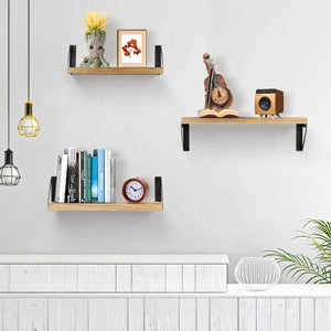 (F089)Jaweke Floating Shelves Wall Mounted Set of 3, Rustic Solid Wood Wall Storage Shelves Decorative for Bathroom, Living Room, Bedroom, Kitchen and More