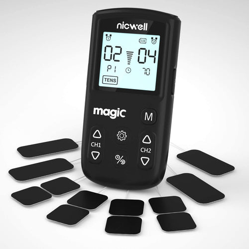 (Q682)TENS Unit Muscle Stimulator - Nicwell TENS+EMS+Massage Muscle Stimulator Machine with Dual Channel and 12 Pads, 22 Modes for Pain Relief & Arthritis & Muscle Strength
