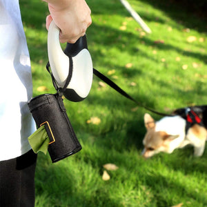 (D465)MalsiPree Dog Poop Bag Holder Leash Attachment, Dog Waste Bag Dispenser with Stainless Steel Carabiner Clip & Adjustable Strap Fit