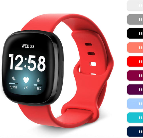 (Y470)Fvlerz Bands for Fitbit Sense/Fitbit Versa 3, Classic Soft Silicone Replacement Sport Strap for Women and Men (Red, L)