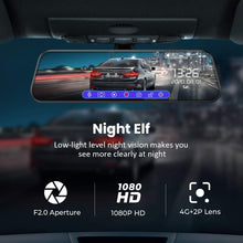 "Load image into Gallery viewer, (T203)VTIN 10"" FHD Mirror Dash Cam with Full Touch Screen, Dual 1080P Water Resistant Backup Camera Car Rear View Mirror Reversing Camera, Enhanced Night Vision/Parking Monitor/Loop Recording/Emergency Lock"