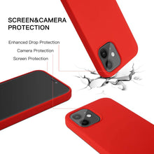 Load image into Gallery viewer, (C046)Full Protective Liquid Silicone Case Compatible with iPhone 12 Built in Magnets Shockproof Cover Designed for iPhone 12 Pro (6.1 inch) (Red)