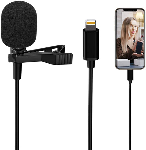 (A818)Lavalier Lapel Microphone for iPhone,Professional External Omnidirectional Mini Mic Phone Audio Video Recording,Easy Clip...